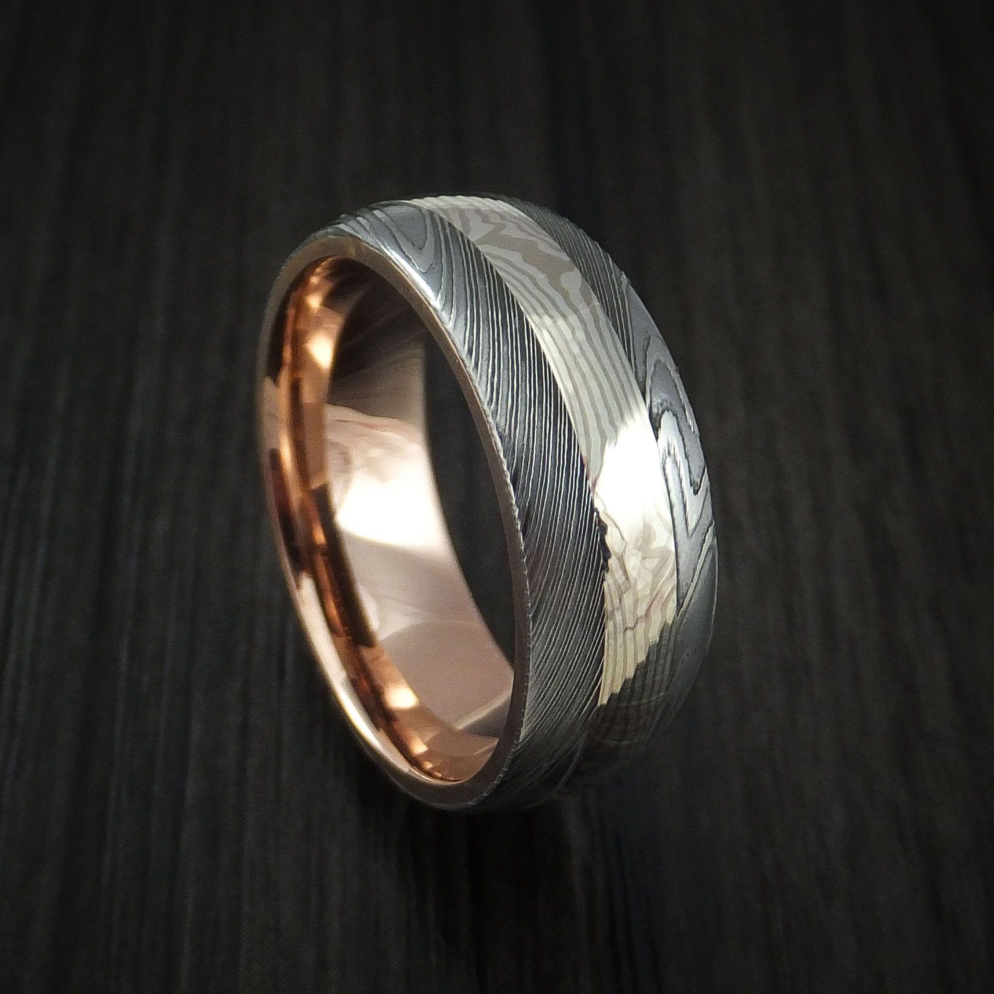 Damascus Steel And Mokume Ring With Rose Gold Sleeve Wedding Band Custom Made