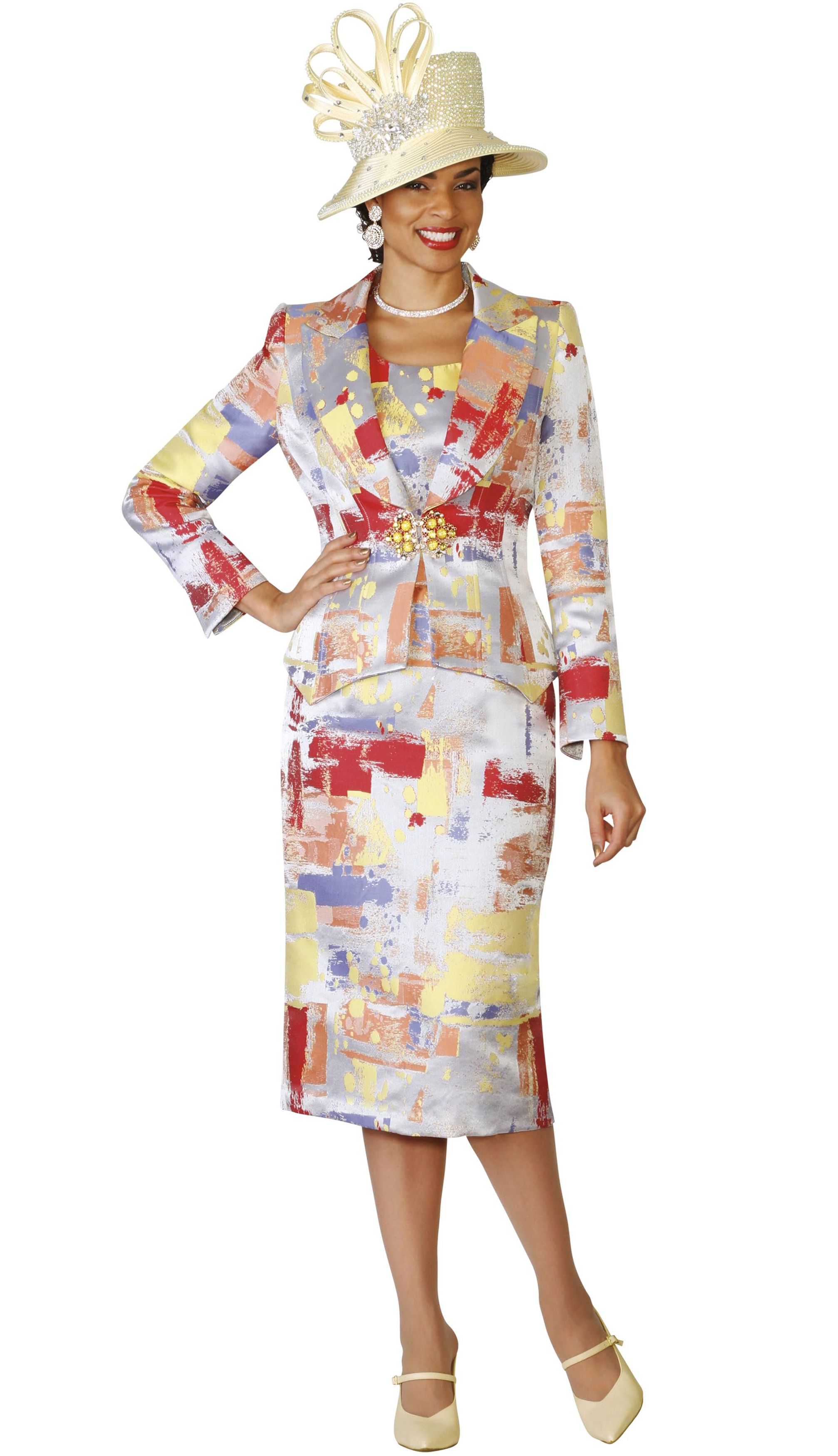 3075340aac7e52 Style Lily and Taylor 4084 3 Piece Womens Skirt Suit With Multi Color Print  Colors Silver With Multi Sizes 4 6 8 10 12 14 16 18 20 22 24
