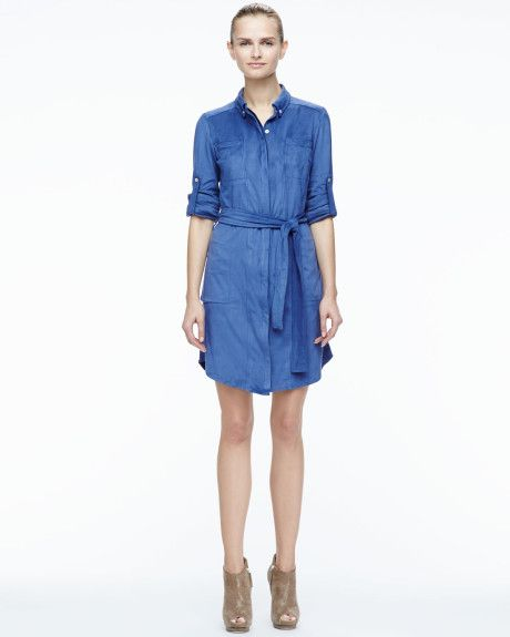 efed1044c4c17 Halston Heritage Stretch Fauxsuede Belted Shirtdress in Blue (CHINA BLUE) -  Lyst