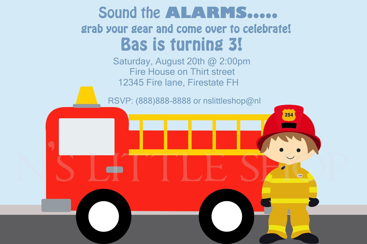 Firefighter Birthday Invitation with car – Fire Truck Birthday Invitation