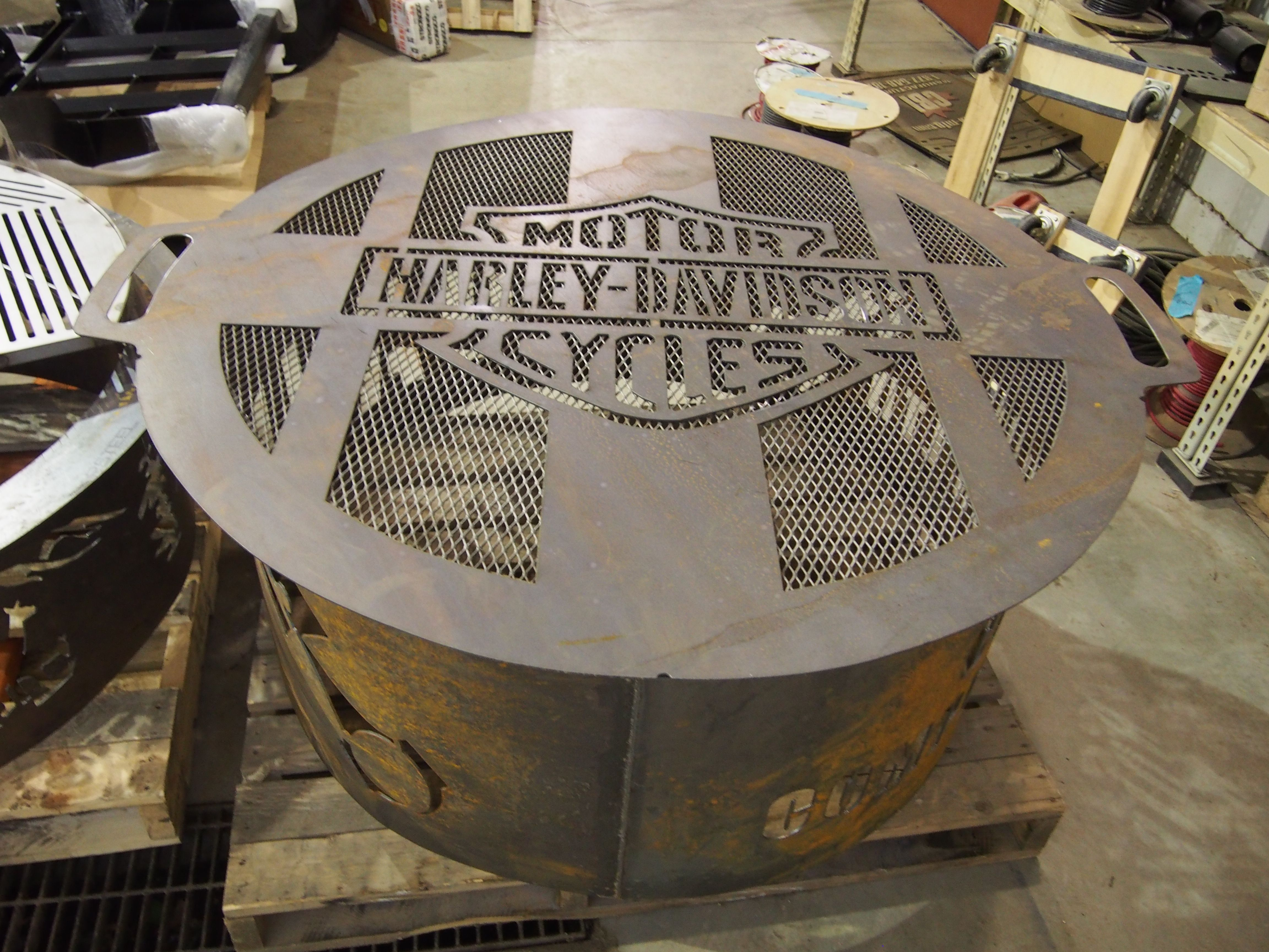 Harley Davidson Custom Fire Pit With Lid Custom Fire Pit