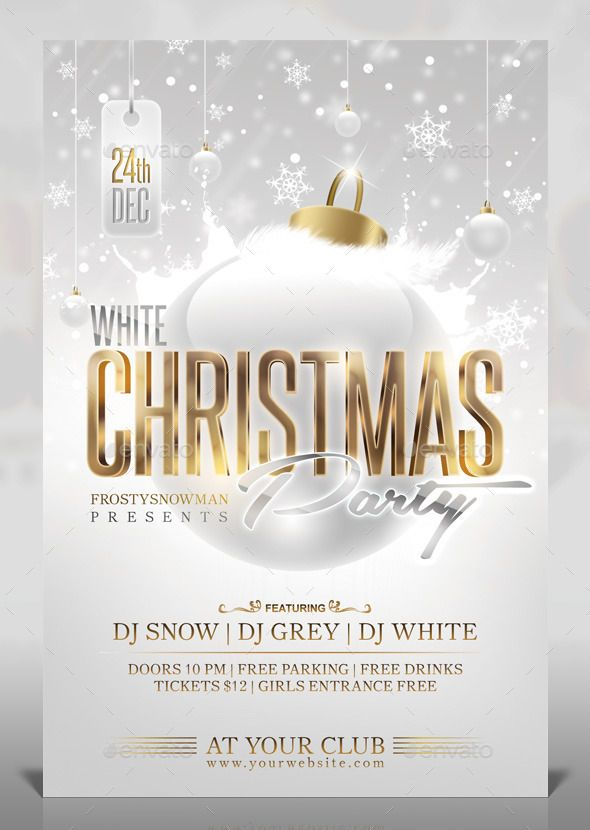 White Christmas Party Flyer Template PSD