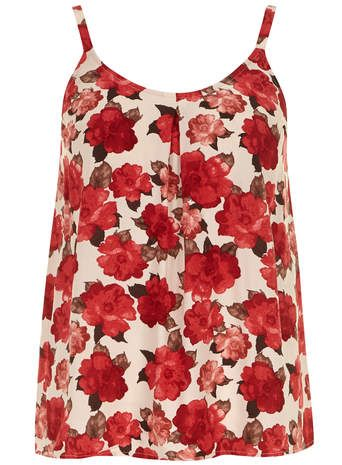Ivory and Red Rose Print Cami