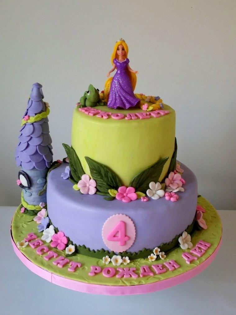Torte bellissime una a due piani con rapunzel della for Torte di compleanno a due piani semplici
