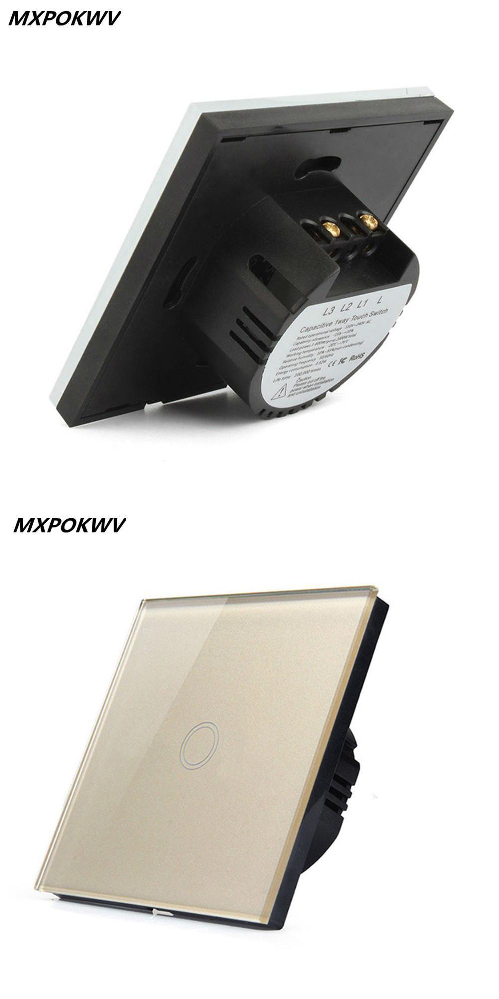 Mxpokwv Eu Standard Crystal Glass Switch 1 Gang Way Smart Home 4 Light Wall Touch