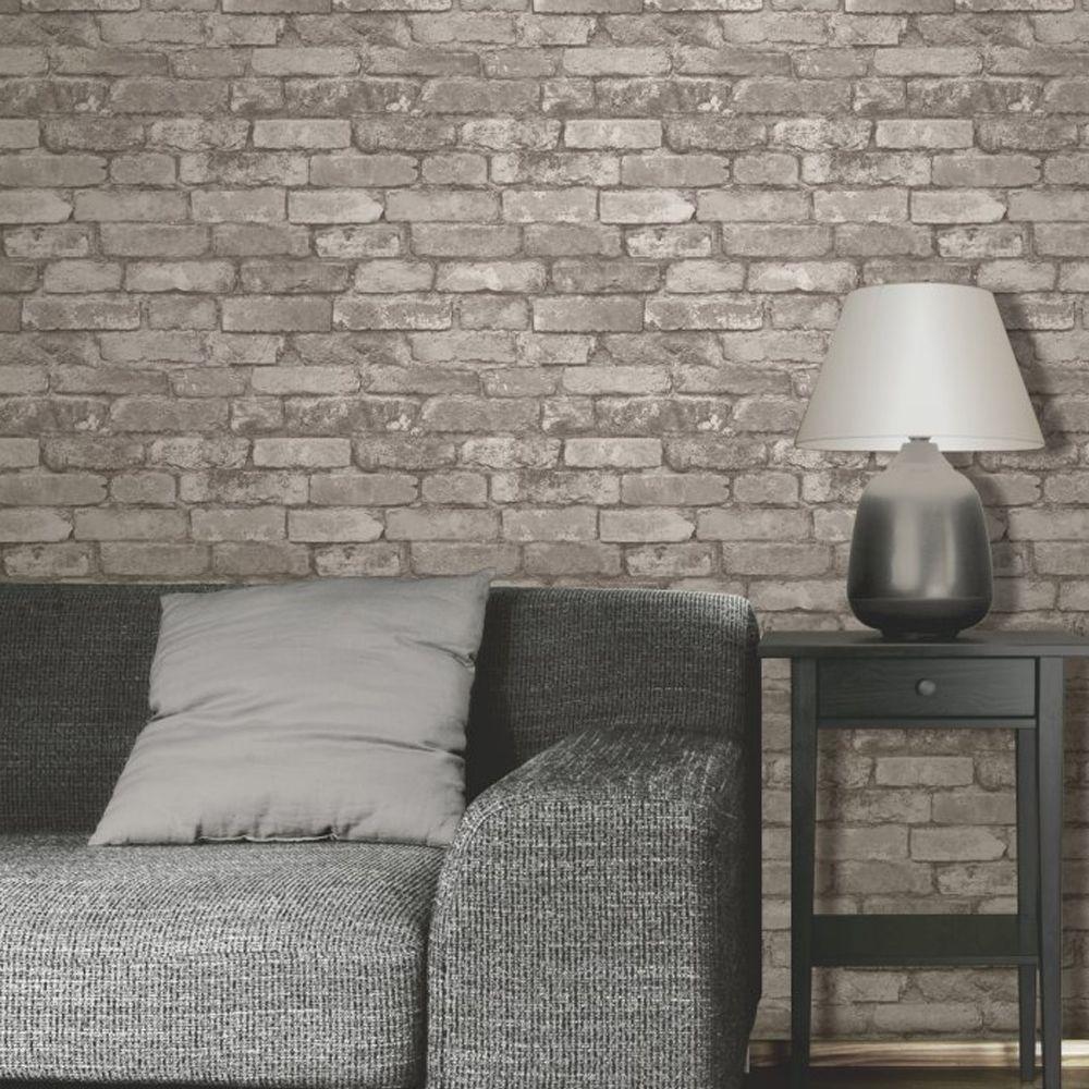silver grey brick effect wallpaper fine decor fd31286 in 2019 home rh pinterest com