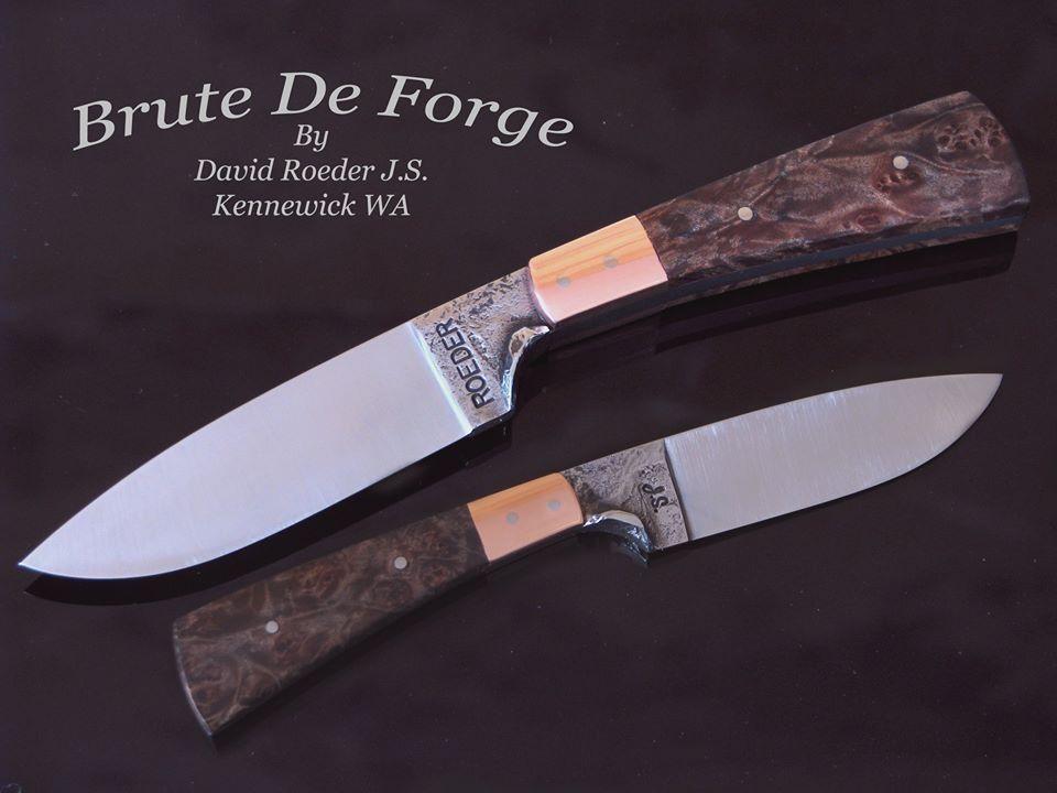 "Brute De Forge 3 1/2"" 5160 carbon steel, 7 3/4"" OAL Copper bolsters, exhibition grade Birdseye Maple handle."