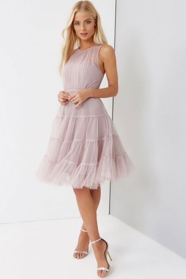 Little Mistress Grey Beaded Maxi Dress with Tulle Skirt