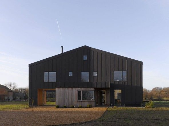 Architecture Unique Modern Barn House With Chimney Black Zinc And