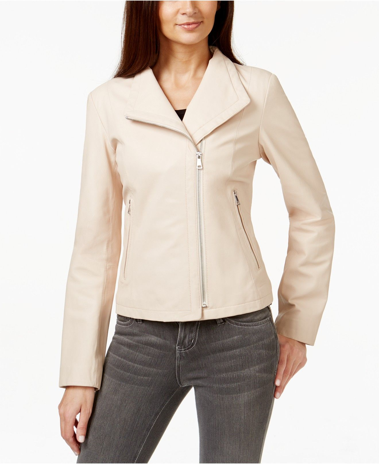 Cole Haan, Asymmetrical Leather Moto Jacket in Blush, 400