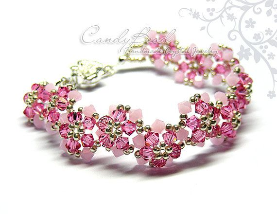 330ea239a1f2 Brazalete de cristal Swarovski color de rosa azul por candybead ...