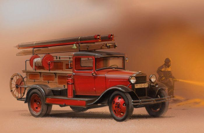 как картинка старинных пожарных машин внимания