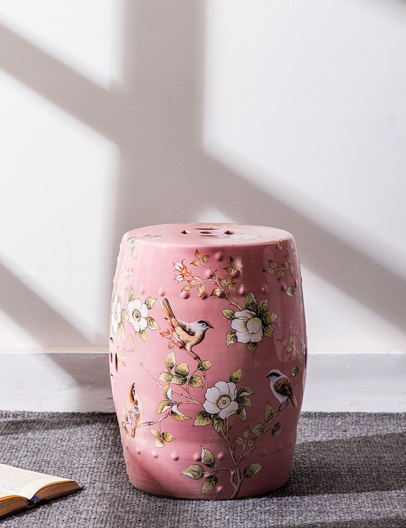 Hand Painted Floral Ceramic Garden Stool Pastel Pink