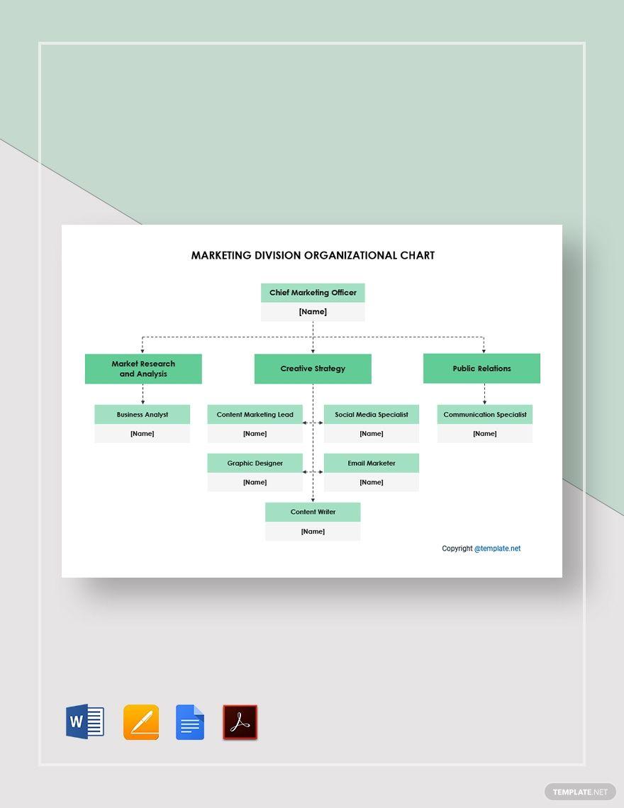 Free Marketing Division Organizational Chart Template In 2020 Organizational Chart Website Template Design Responsive Website Template