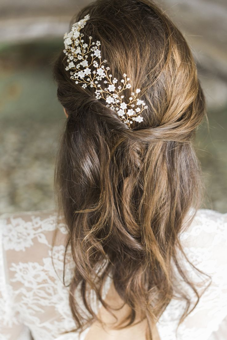 bridal hair vines & combs. interesting placement of hair vine