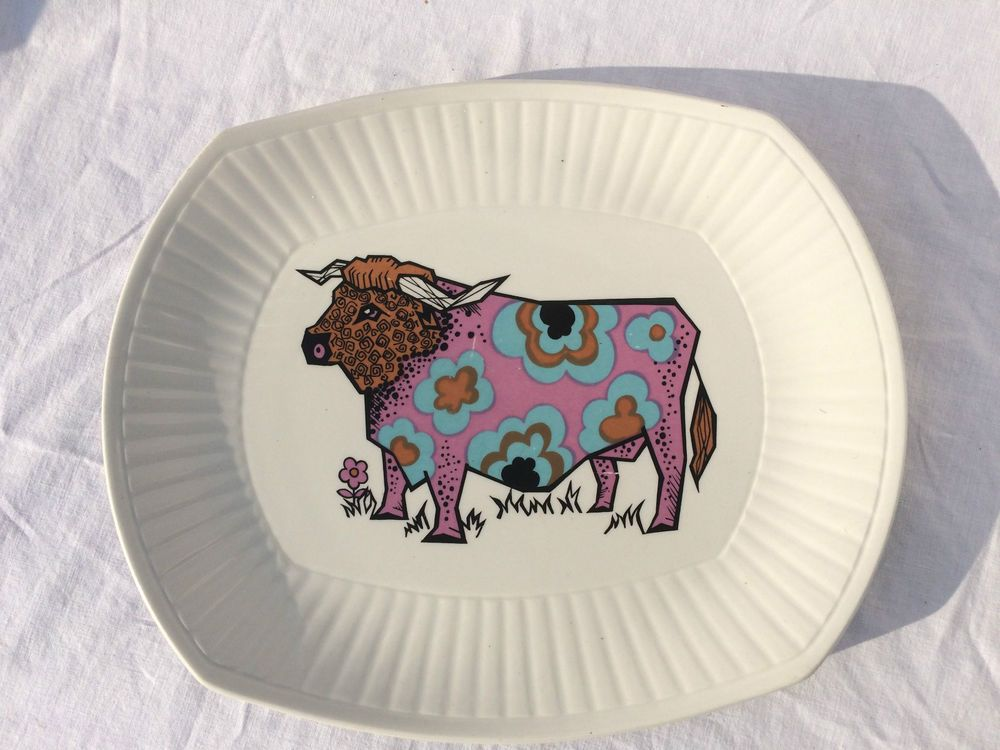 Vintage Retro 60s 70s Beefeater Steak Plate Pink Blue Psychedelic Cow Design | eBay