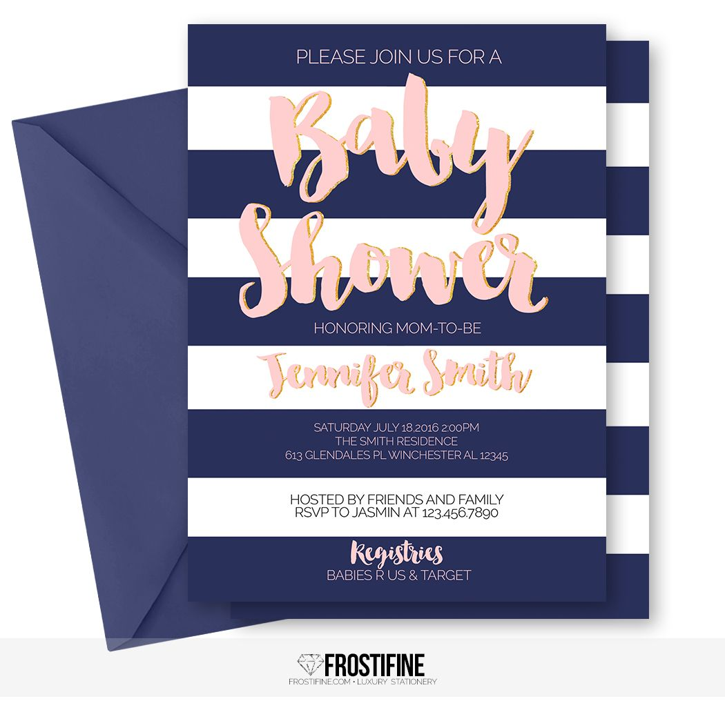 Glamorous baby shower invitation for your modern party theme. Navy ...