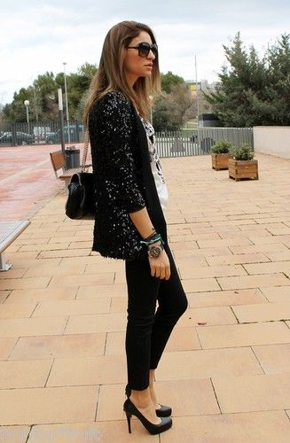 547ab6fd7b Zara Long Black Lace Sequinned Dress Evening Blazer Jacket Sz S M Retail  £79.99
