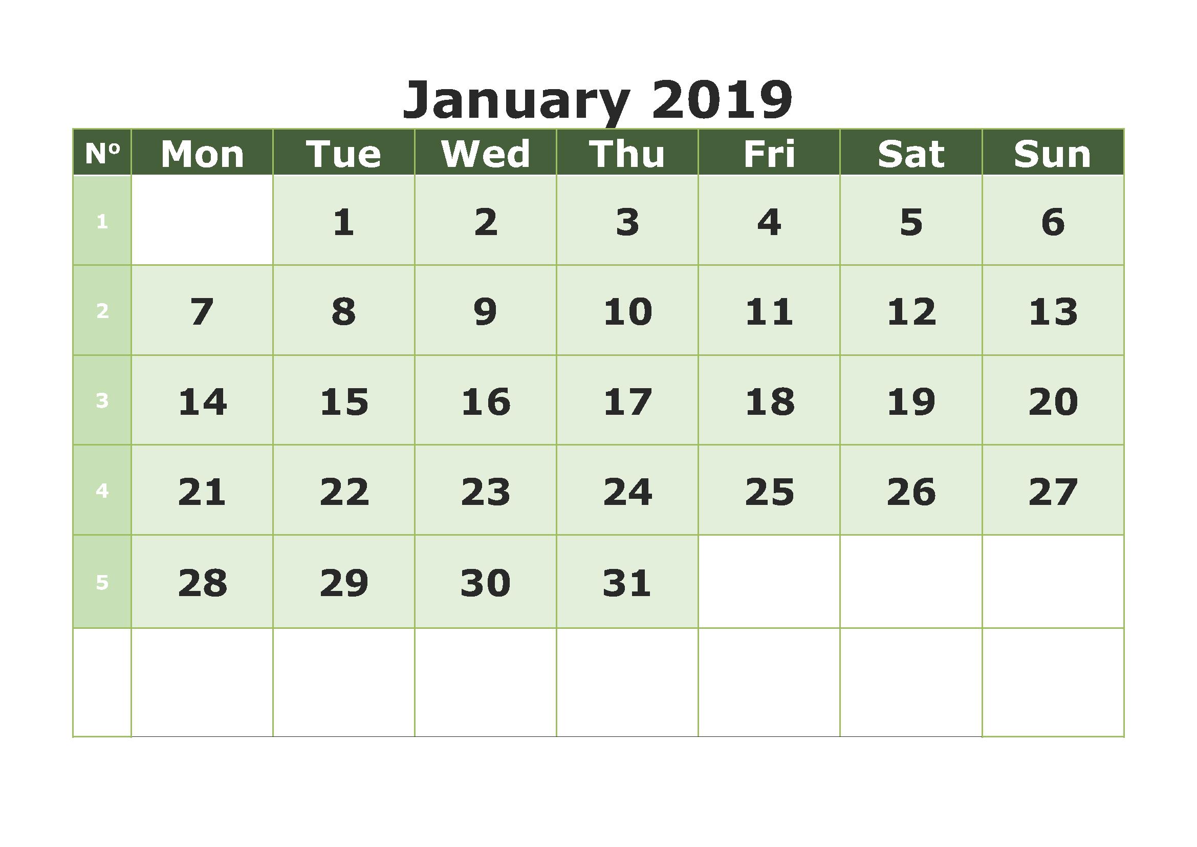 January Calendar Template Excel Sheet