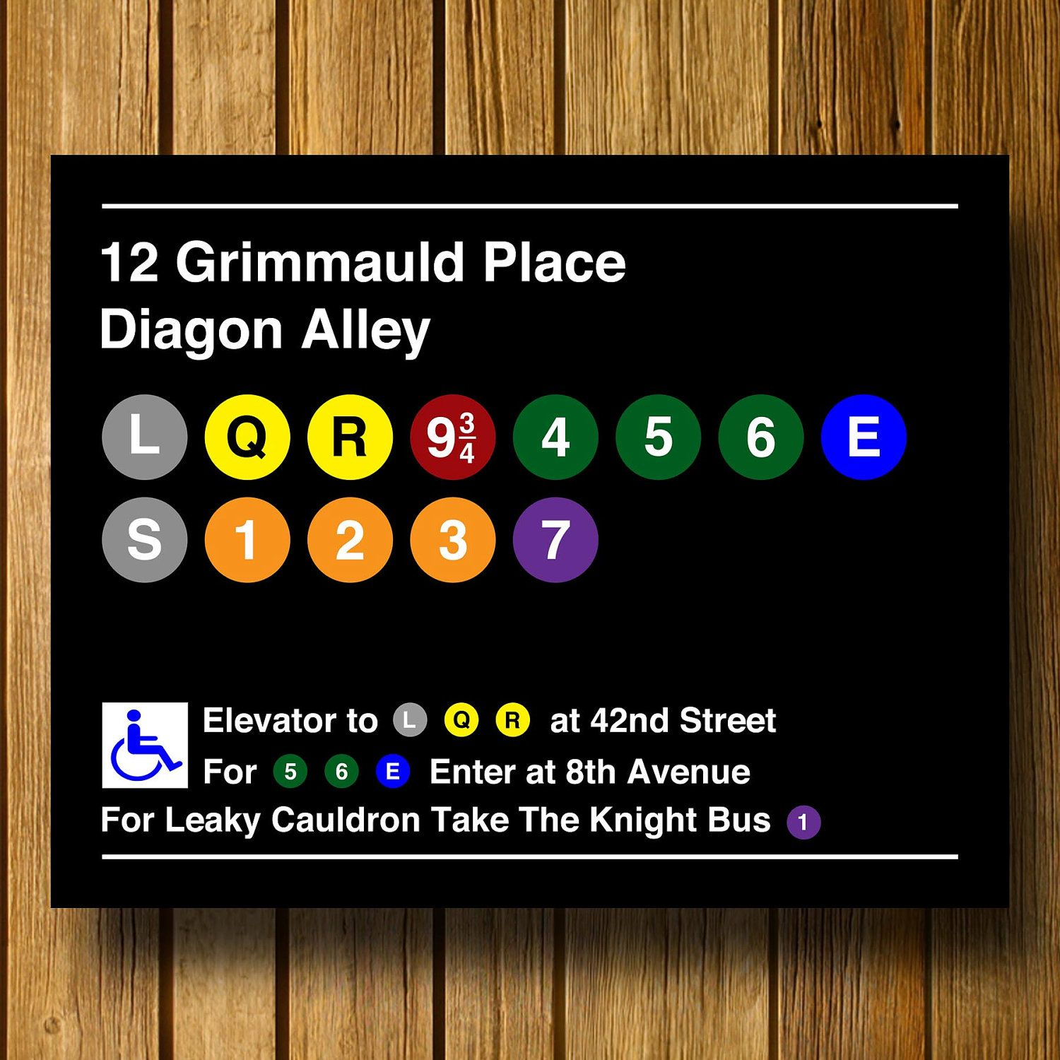 Harry Potter Inspired Modern Subway Sign 11 x by EntropyTradingCo, $13.99