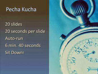 En las sesiones de Pecha Kucha, los ponentes presentan sus proyectos en 20 diapositivas, cada una de las cuales se muestra durante 20 segundos. El modelo dinámico, de tiro rápido requiere altavoces de ser breve, claro y creativo.