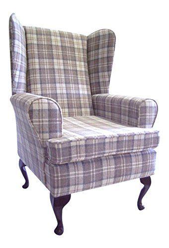 queen anne style chair in a latte tartan fabric wing back rh pinterest com