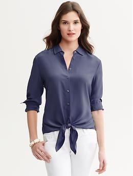 eadd10d99fdc12 Silk tie-front blouse