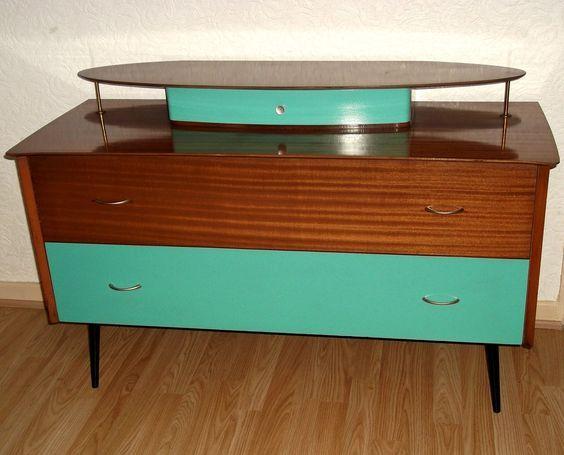 Turquoise & Teak Veneer Sideboard