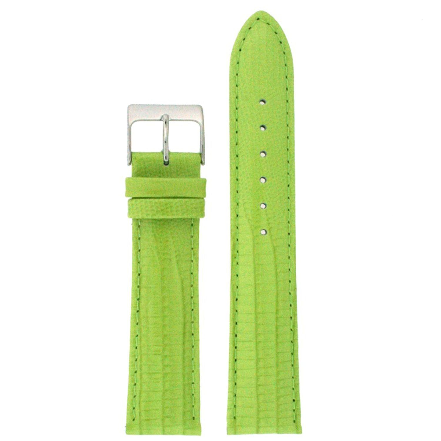 18mm Watch Band Patent Leather Lizard Grain Lime Green ** New and awesome product awaits you, Read it now  : Watch Bands