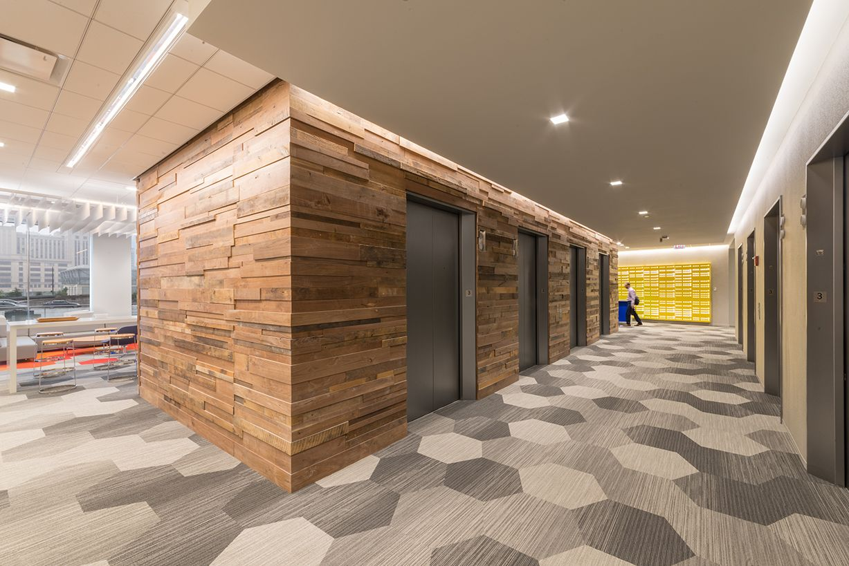 Elevator Lobby Design | Reclaimed Wood, Chic and Modern ...