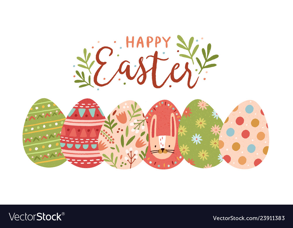 Festive Greeting Card Template With Happy Easter Vector Image On Vectorstock In 2020 Greeting Card Template Happy Easter Card Easter Wishes