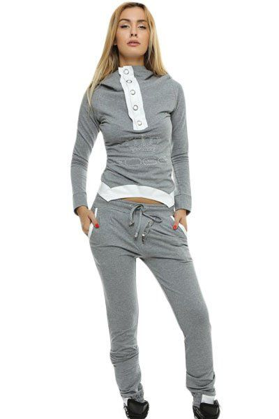 Pantalon Ensembles Gris Street Fashion Jogging Suit Hooded femme tomboy  fashion chic– Modebuy.com a13566263ea