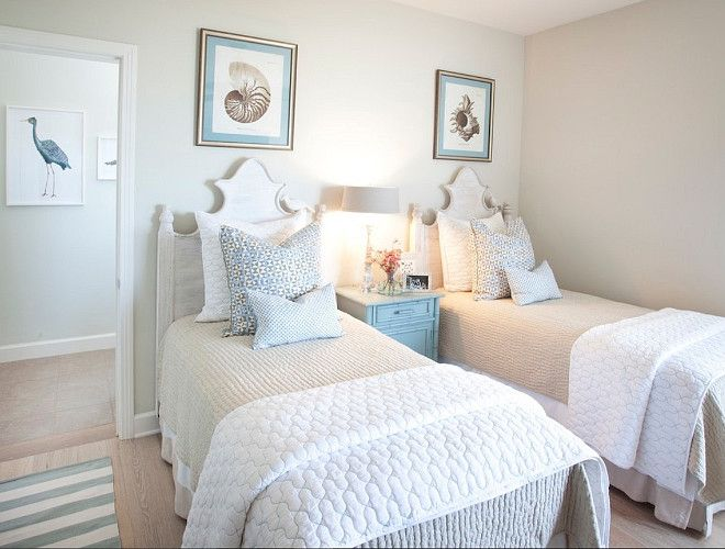 Guest Bedroom Neutral Guest Bedroom With Twin Beds Guestbedroom Neutralinteriors Twi Neutral Guest Bedroom Beach House Interior Design Tiny Bedroom Design