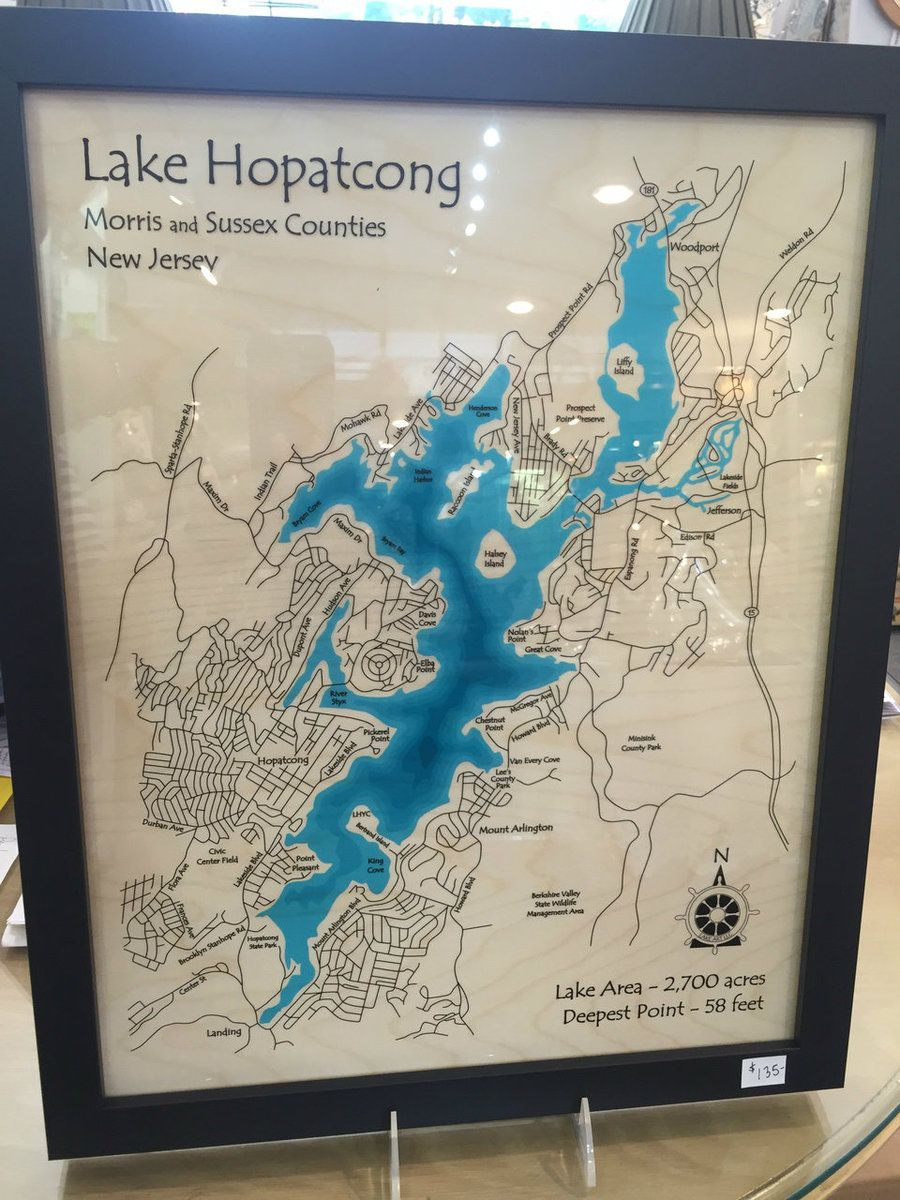 Lake Hopatcong Map 14x18 Lake Hopatcong Map