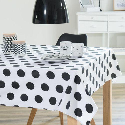 nappe enduite en coton blanche noire 140 x 250 cm dotty nappe enduite pinterest coton. Black Bedroom Furniture Sets. Home Design Ideas
