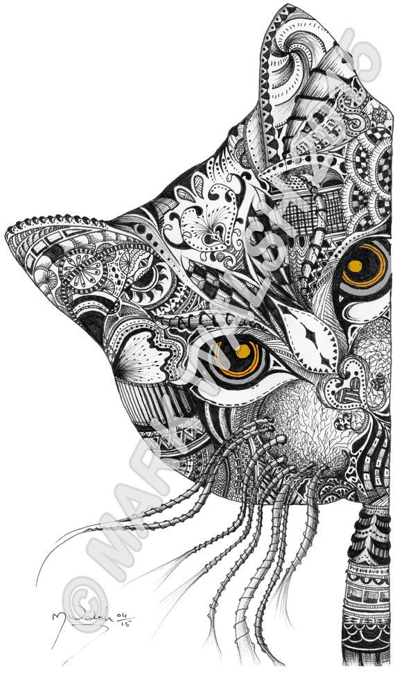Peek - zentangle art - DIGITAL DOWNLOAD | Cats + Dogs Coloring Pages