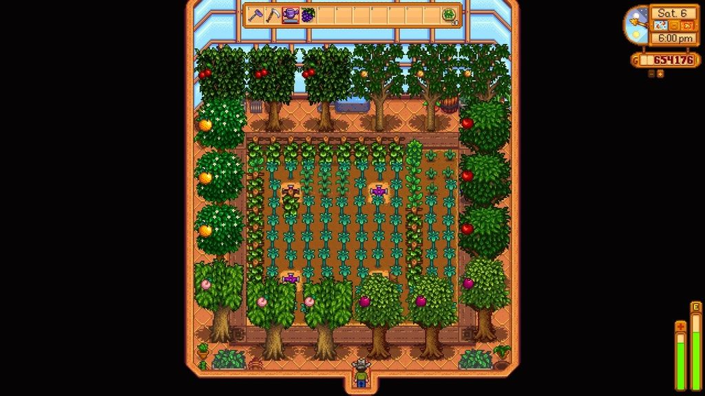 Greenhouse Layout With Iridium Sprinklers And 2 Of Each Fruit Tree Stardewvalley