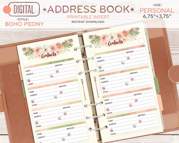 PERSONAL size Address Book for planner, Contacts printable page
