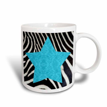 3dRose Punk Rockabilly Zebra Animal Stripe Blue Star Print, Ceramic Mug, 11-ounce
