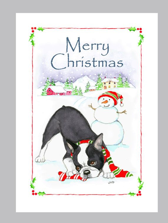 boston terrier christmas cards by judzart on etsy 1660 - Boston Terrier Christmas