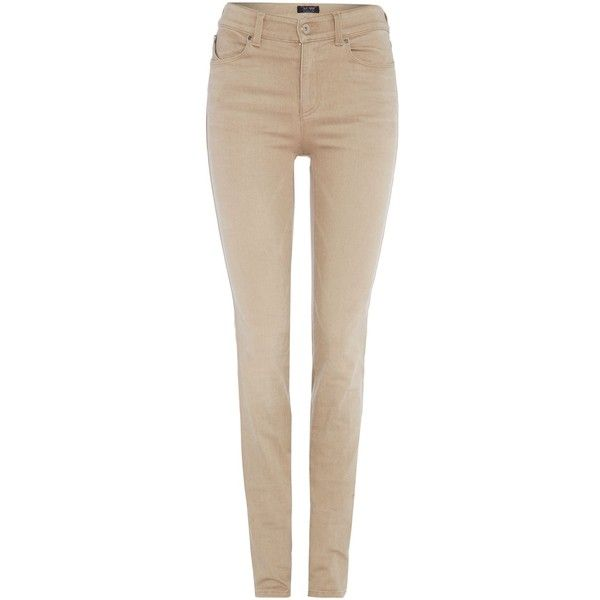 97dce42d2c8 Armani Jeans J18 High rise slim colour jean in beige ($265) ❤ liked ...