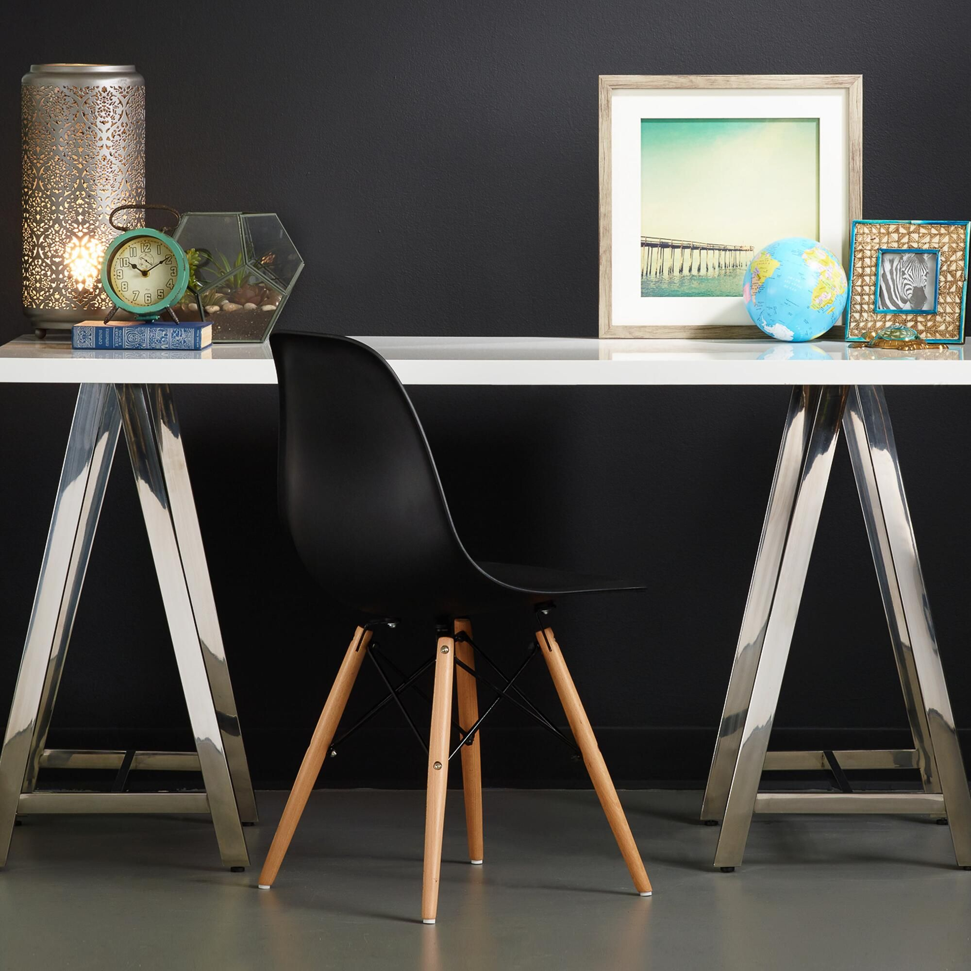 White Lacquer And Chrome Colton Mix U0026 Match Desk | World Market