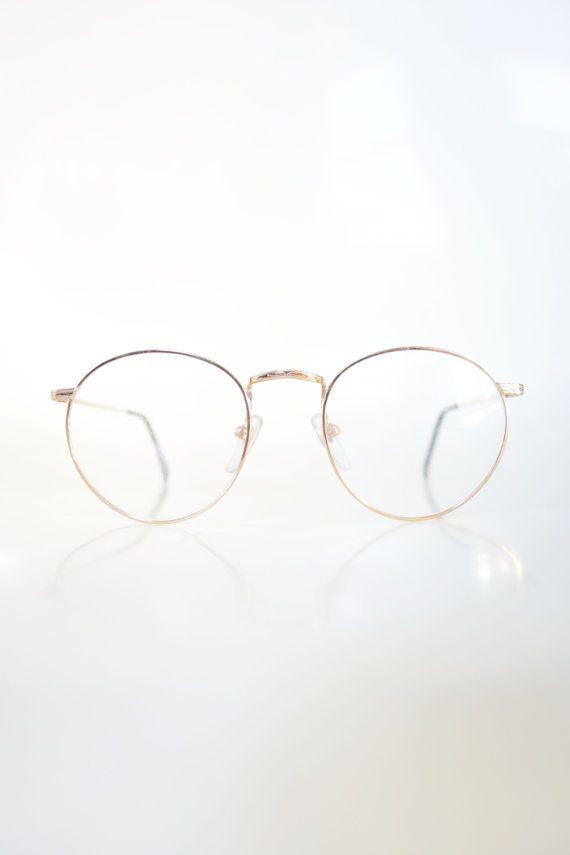 092ba022ff3 Round Wire Rim Gold 1960s Metallic Womens Preppy Geek Chic Frames P3 ...