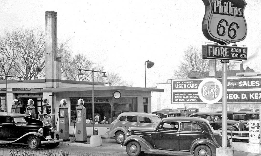 Fiore's Phillips 66 service station at 222 West Washington