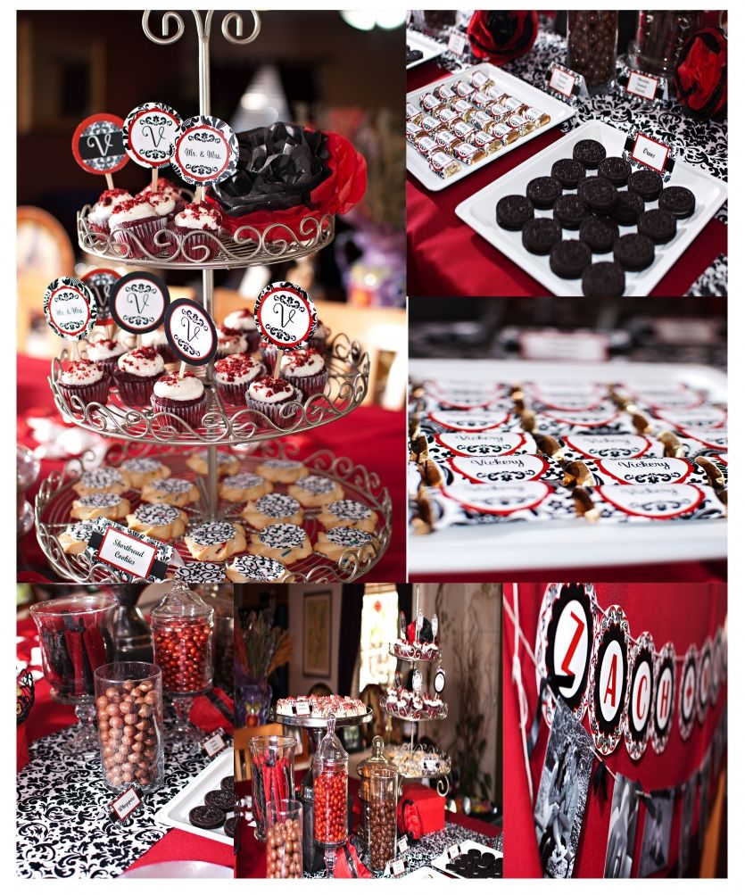 Wedding Dessert Table Red Black And White