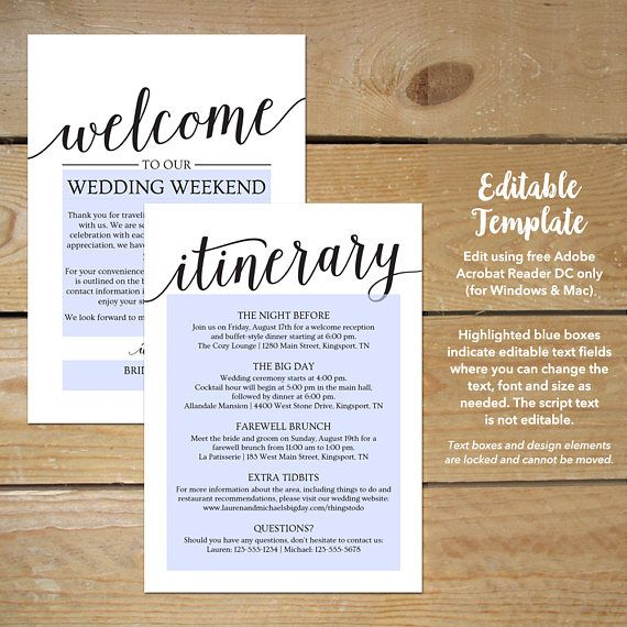Wedding Itinerary Template \/\/ Printable Welcome Itinerary - itinerary template