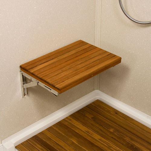 17 Wide Teak Wall Mount Fold Down Teak Shower Seat