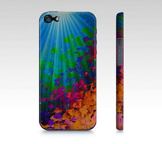 UNDER THE SEA, iPhone 4 4S iPhone 5 5S 5C Art Phone Case Plastic Cover Rainbow Mermaid Dreams Ocean Waves Blue Abstract Underwater Painting