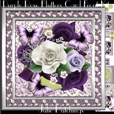 Beautiful Purple Rose Flutters Card Front Kit on ...