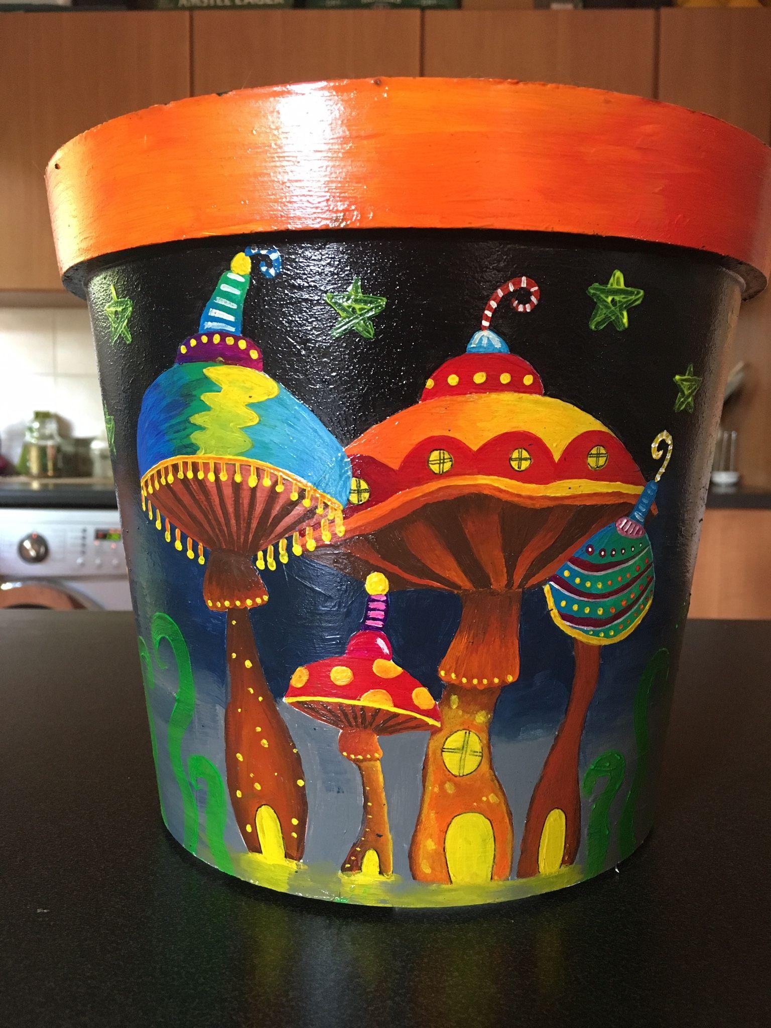 Painted pot: Midnight mushrooms